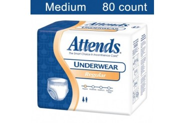 Attends Adult Underwear Regular M 80ct Absorbent Latex-Free Diaper Soft
