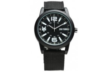 Black Nylon Strap Watch with Black Dial