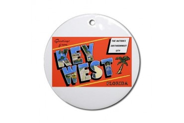 Key West Florida Greetings Ornament Round Vintage Round Ornament by CafePress