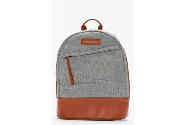 Want Les Essentiels De La Vie Black And White Leather Trimmed Kastrup Backpack