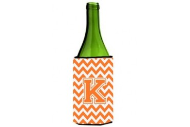 Letter K Chevron Orange and White Wine Bottle Beverage Insulator Hugger