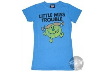 Little Miss Trouble Blue Baby Doll Tee by JUNK FOOD