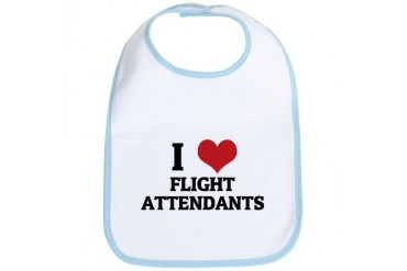 I Love Flight Attendants Occupations Bib by CafePress