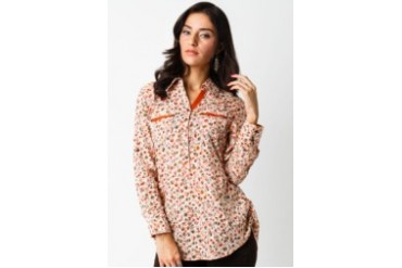 Triset Ladies Red Long Sleeve Blouse With Collar