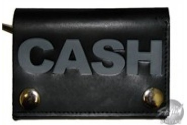Johnny Cash Name Leather Tri-Fold Wallet with Chain