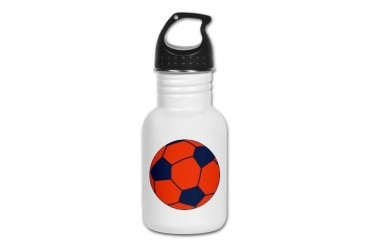 Blue and Orange Soccer Soccer Kid's Water Bottle by CafePress
