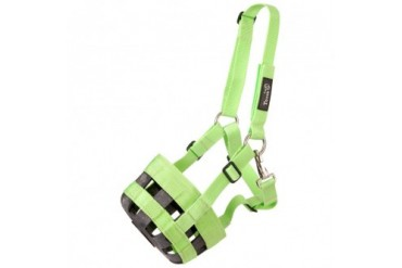 Tough-1 Poly Nylon Grazing Muzzle with Halter Neon Green Horse