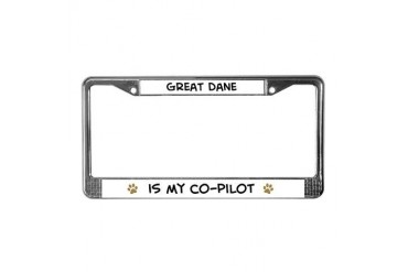 Co-pilot: Great Dane Pets License Plate Frame by CafePress