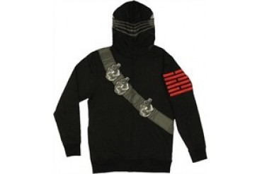 GI Joe Snake Eyes Costume Hood Zip Full Zipper Hooded Sweatshirt