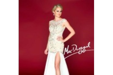 Mac Duggal Black White Red - Style 61703R