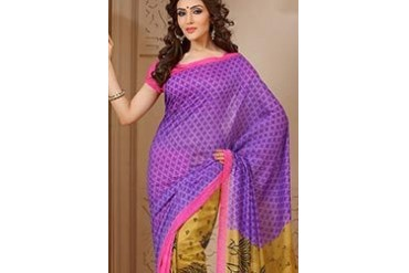 Hypnotizing Purple Silk Cotton Printed Saree