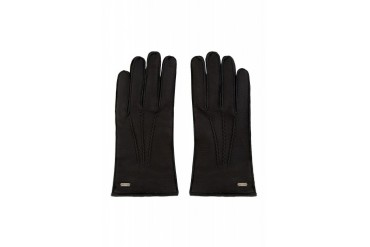 Dolce And Gabbana Black Deerskin Leather And Cashmere Gloves