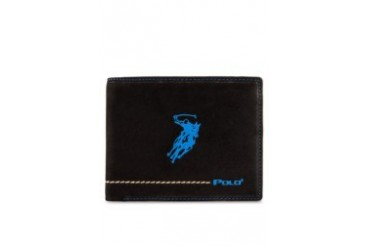 Polo Colored Stitching Detail Leather Wallet
