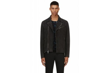 Marc By Marc Jacobs Charcoal Suede Luca Biker Jacket