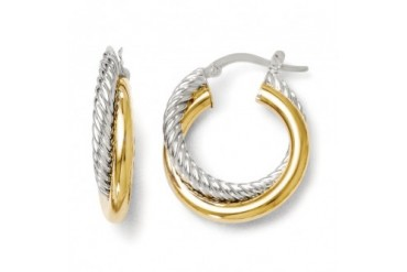 6mm Polished amp Twisted Crossover Hoop Earrings in 14K Two Tone Gold
