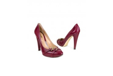 Plum Patent Leather Platform Pump Shoes