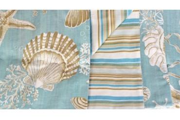 Ocean Sea Shell Starfish Reversible Fabric Napkins Set of 4