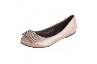 Leatherette Flat Heel Flats With Bowknot (086026703)