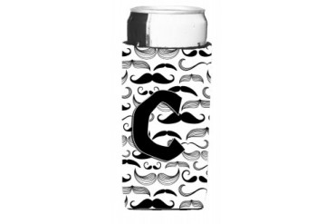 Letter C Moustache Initial Ultra Beverage Insulators for slim cans