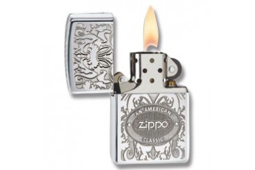 "Zippo ""Double Lustre American Classic"" Lighter with High Polish Chrome Finish"