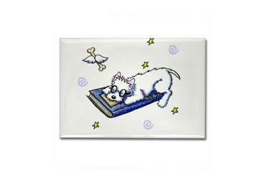 Book Lover Westie Geek Rectangle Magnet by CafePress