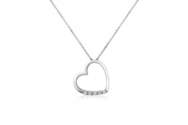 0.03 ct Diamond Floating Heart 18K Gold Necklace