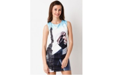 Chic Simple Eiffel Tower Printed Dress