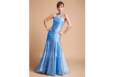 Trumpet/Mermaid Halter Floor-Length Taffeta Bridesmaid Dress With Ruffle (007004567)