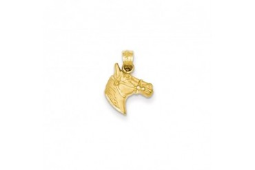 Satin and Diamond Cut Horse Head Pendant in 14 Karat Yellow Gold