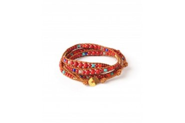 Chan Luu Red Coral Labrodorite Neon Orange Lapis Turquoise and Gold Vermeil Wrap Bracelet Red