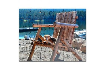 Little Dog Big Chair Dog Puzzle by CafePress