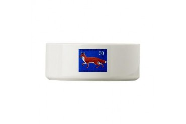 1967 Germany Fox Postage Stamp Vintage Small Pet Bowl by CafePress