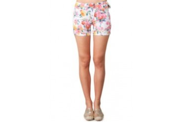 Miss Me White Hot Pant Harem Print Flower With 2 Button