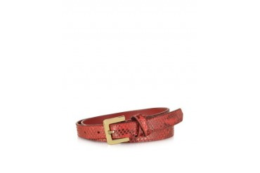 Red Python Leather Skinny Women's Belt