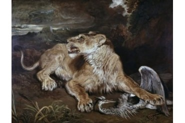 A Lioness amp A Heron James Ward (1769-1859 British) Poster Print (24 x 36)