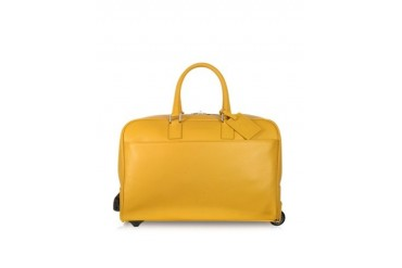 Travel Yellow Leather Rolling Duffle