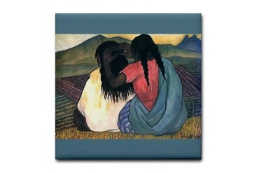Diego Rivera Women Combing Hair Art Mexican Tile Coaster by CafePress