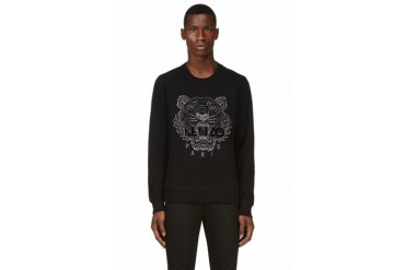 Kenzo Black And Silver Tiger embroidered Sweatshirt