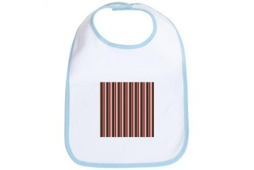 Red Gray Brown Stripes Holiday Bib by CafePress