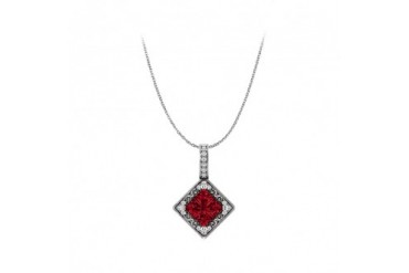 Stunning Ruby and CZ Square Pendant in 14K White Gold