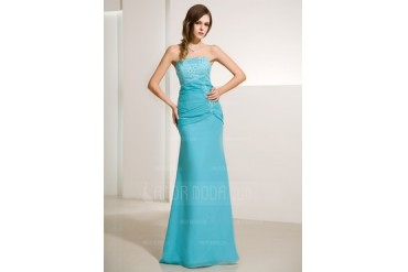 Trumpet/Mermaid Strapless Floor-Length Chiffon Satin Evening Dress With Ruffle Lace Beading (017014213)