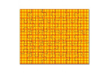 Orange Gingham Retro Puzzle by CafePress