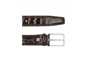 Men's Brown Croco Stamped Leather Belt