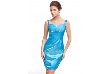 Sheath/Column Sweetheart Short/Mini Charmeuse Cocktail Dress With Ruffle Beading (017026235)