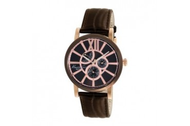 Rose Gold Watch With Brown Dial and Leather Strap