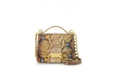 Golden Python Leather Shoulder Bag