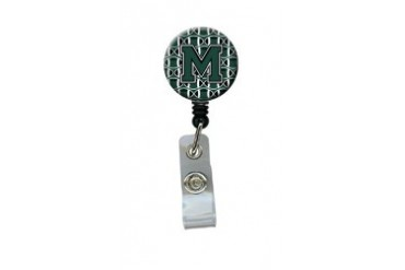 Letter M Football Green and White Retractable Badge Reel