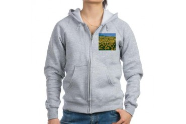 Field Of Sunflower Art Women's Zip Hoodie by CafePress