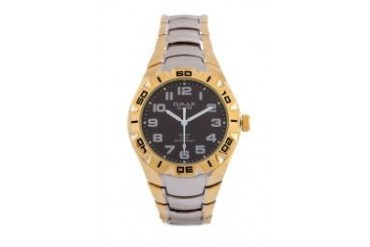 Omax DBA483-Black Dial Alloy Silver Gold Strap Watch