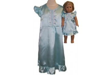 Matching Girls and Doll Clothes Blue Satin Nightgown Size 5